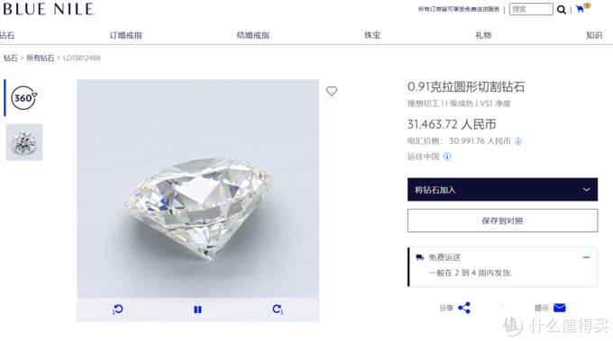 点击之后有钻石详细的360度照片,甚至还有GIA报告可以看到所有细节