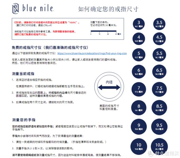 Blue Nile提供了测量手指维度的方法,甚至可以获得免费的戒指尺寸仪来精确测量需要的尺寸,不过Blue Nile也提供了一年内免费更改尺寸的服务,我使用过一次,所以即使定错了尺寸,一年内修改也是可以的。