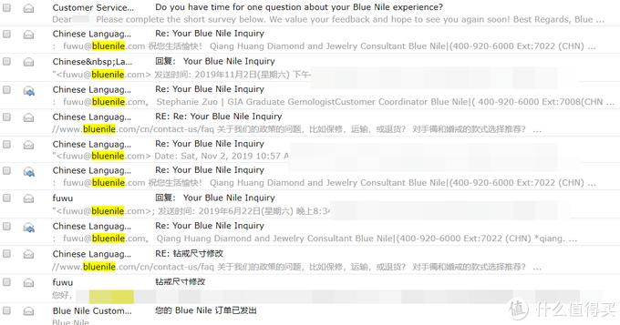 有任何问题都可以通过24小时电话或者电邮进行查询,Blue Nile的电邮回复速度很快,有时候发送立刻就收到回复,有时候等最多半个小时就有回复,中文英文均可。