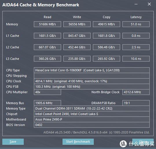 DDR4 3800@1.35v(18-22-22-42) AIDA64 缓存与内存测试