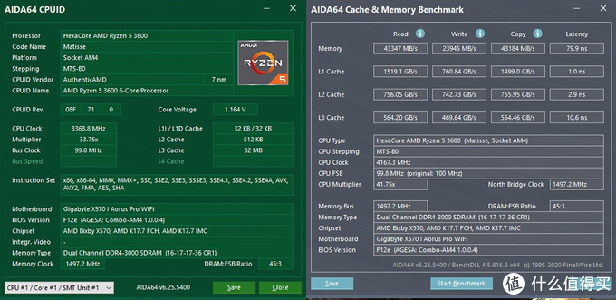 金士顿HyperX Fury DDR4内存 16G*23000C16 测试成绩