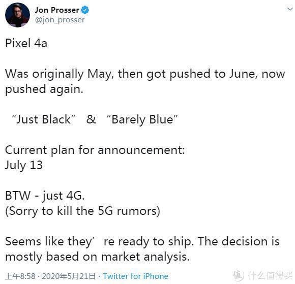 谷歌或将Pixel 4a智能机推迟到7月份发布