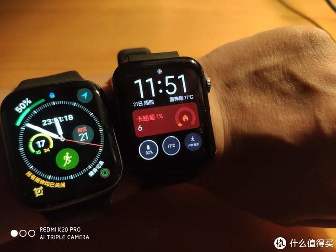 来一张小米和Apple watch的对比,尽管价格和质感相差悬殊,但功能不差