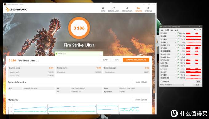 3DMark FSU得分3186,显卡分3221,GPU峰值温度70°C,峰值功耗197.5W