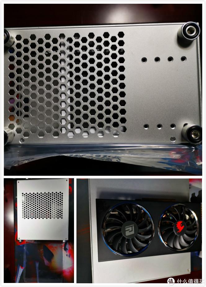 底部照片及显卡安装面的侧板,显卡已经接近这个这个机箱的显卡限制了