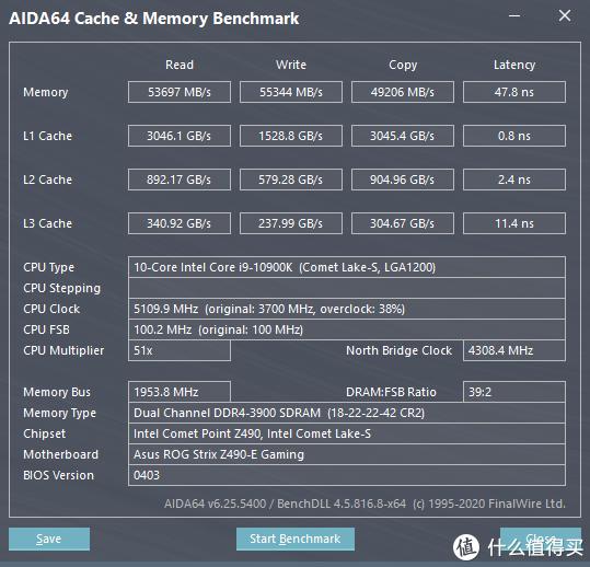 DDR4 3900@1.35v(18-22-22-42) AIDA64 缓存与内存测试