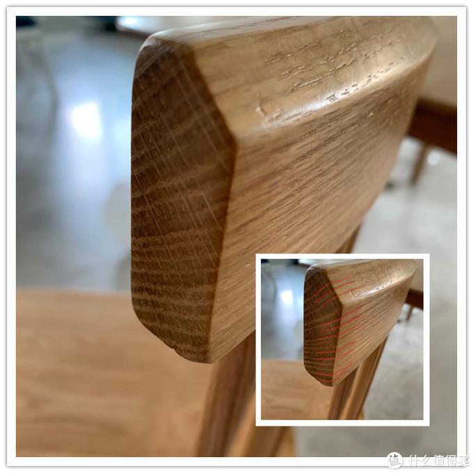 观察实木两端截面,两端5面的木纹必须要自然过渡