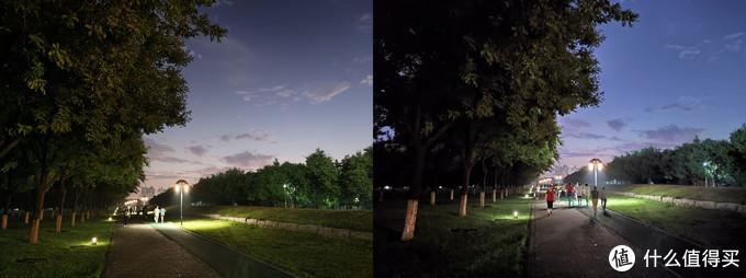 再看看同样打开了超级夜景的两台手机,左边的vivo X50 Pro确实亮度更高,细节更多。