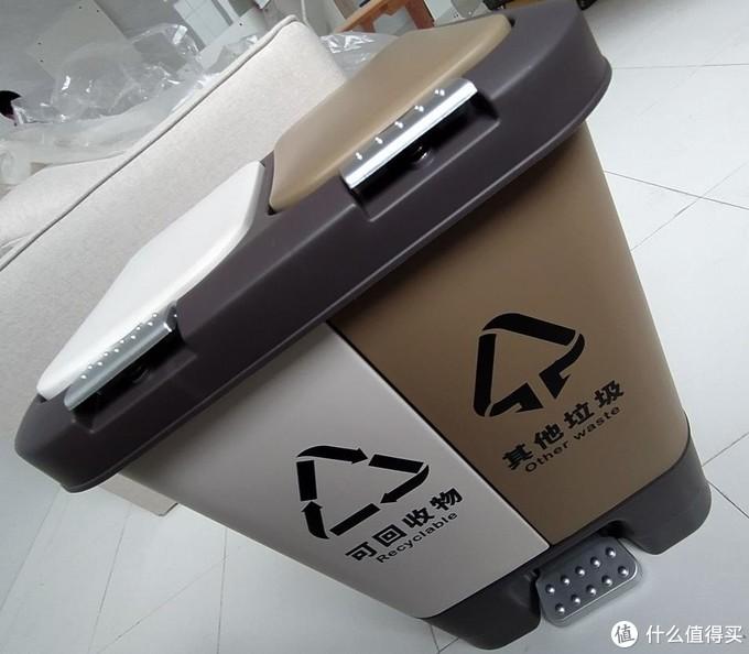 双艺G2470双分类垃圾桶开箱,液压脚踏是亮点