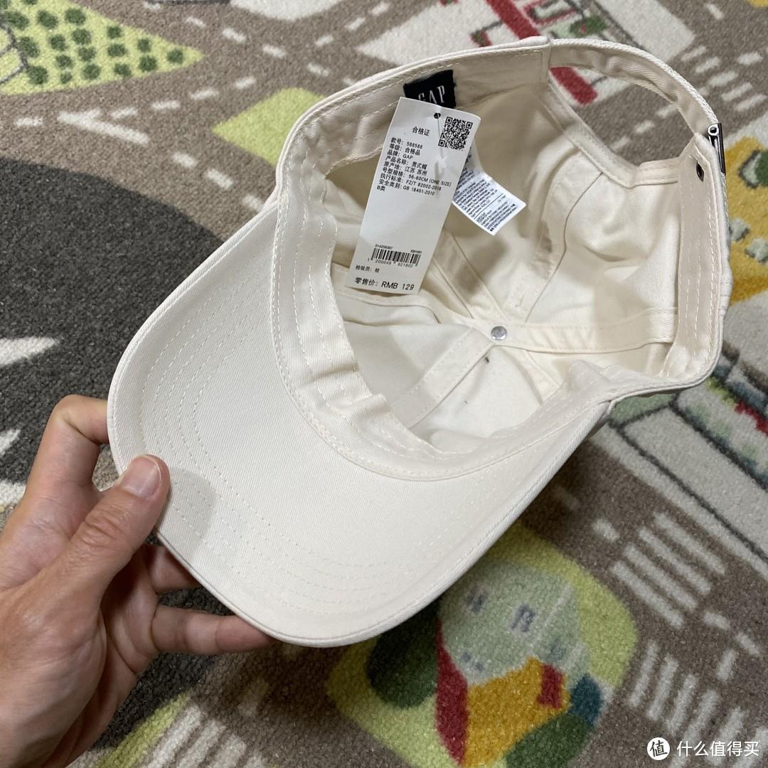 纯白小清新!GAP logo棒球帽