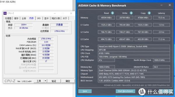 AIDA64内存缓存测试截图(3600MHz)