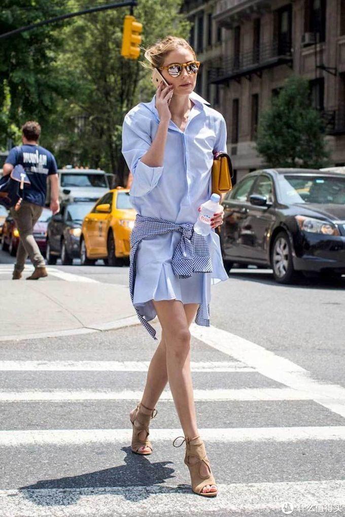 可职业可休闲的衬衫裙,明星这么简单的搭配,竟然如此时髦