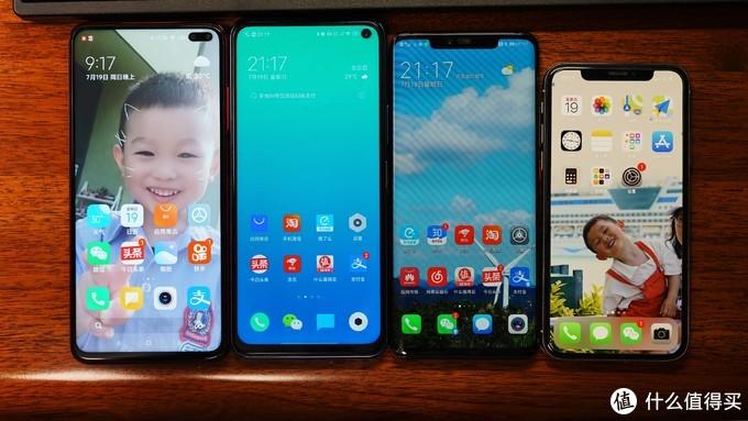 自左至右:红米K30、iQOO Z1x、华为Mate20Pro、iPhone X