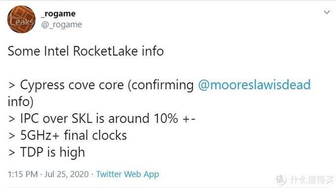 英特尔第11代Rocket Lake-S或将提升10% IPC、最高睿频5GHz起、TDP不低