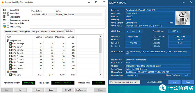 i7 10700K处理器 AIDA64(单钩FPU) 满载测试 温度表现(玻璃上盖)