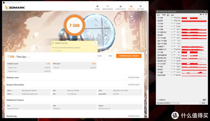 3DMark Time Spy总分7588,显卡分7478,GPU频率1764MHz,峰值温度65°C,热点温度81°C,峰值功耗152W,风扇转速2100RPM。