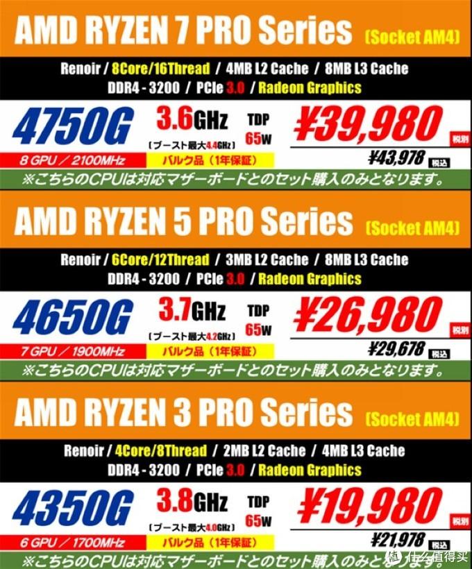 "AMD Ryzen 4000G APU""零售版""低调出现在日本市场,价格不便宜"