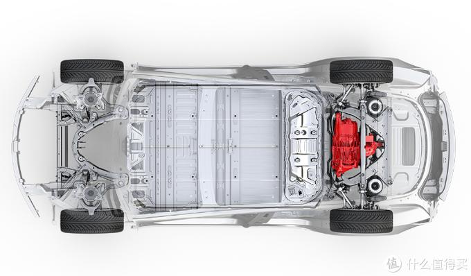 这是model3的底盘,简洁的电力总成以及独创的U型骨架