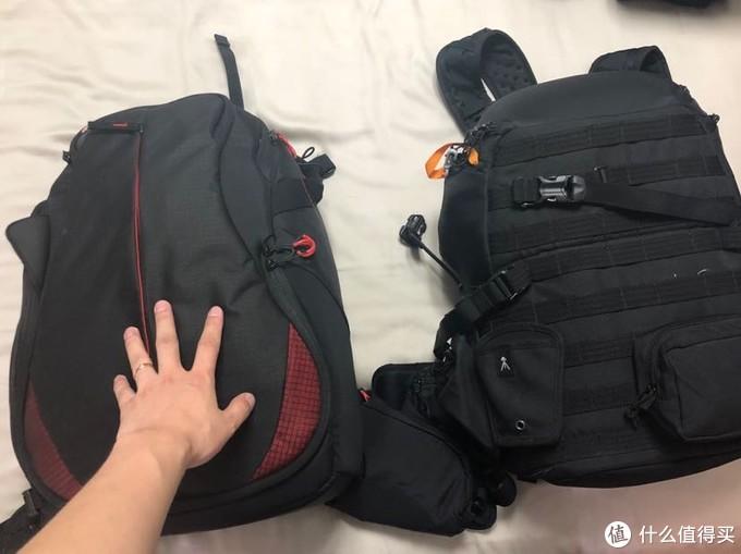 两个包都不小,曼富图更大些,不过不好配置空间