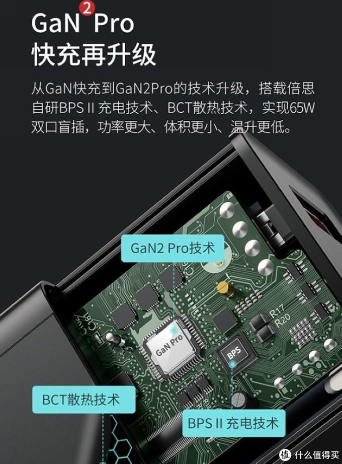 双USB-C最高65W功率、升级GaN2 Pro技术:倍思第二代65W氮化镓充电头上架预售