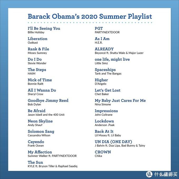 退休老干部奥巴马公布2020夏日歌单,基本达到欧美年轻人品味,附53首完整播放列表