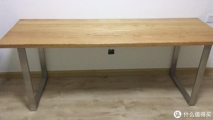 2米长的DIY书桌,桌面红橡,桌腿不锈钢,无望板,桌面中心有下沉