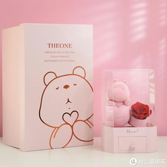 七夕新品上线,玫瑰小熊项链永生花盒,你的女友会喜欢吗?