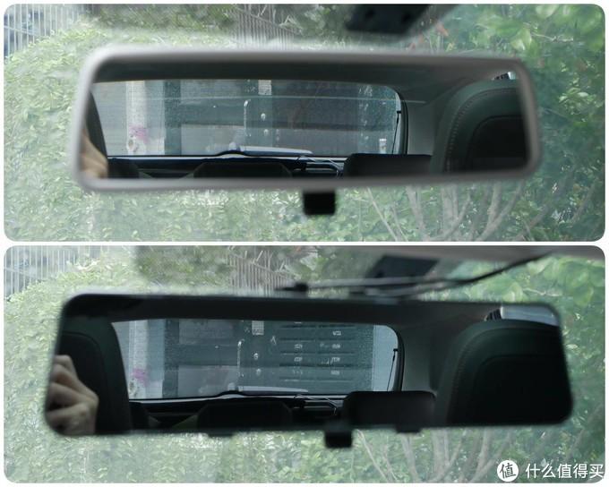 M310高光白镜对比原车后视镜的反光亮度