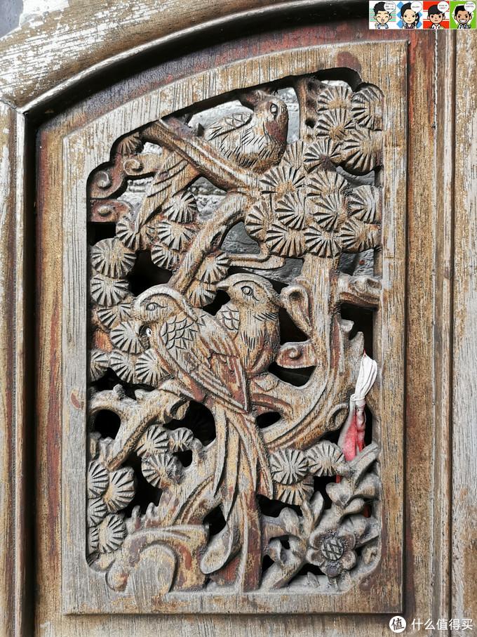 木门上雕饰,喜鹊、