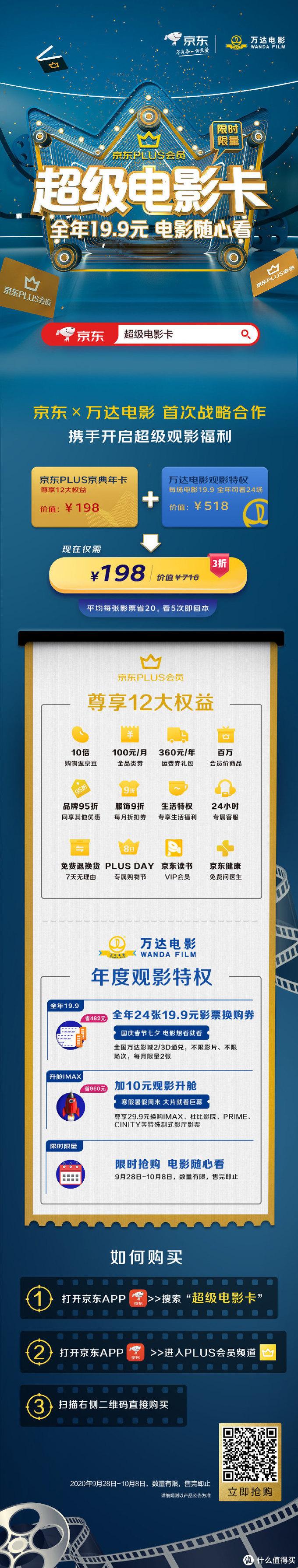 京东联名会员又整活了,198元加购万达影城超级电影卡,普通场次19.9元,每月仅限两张
