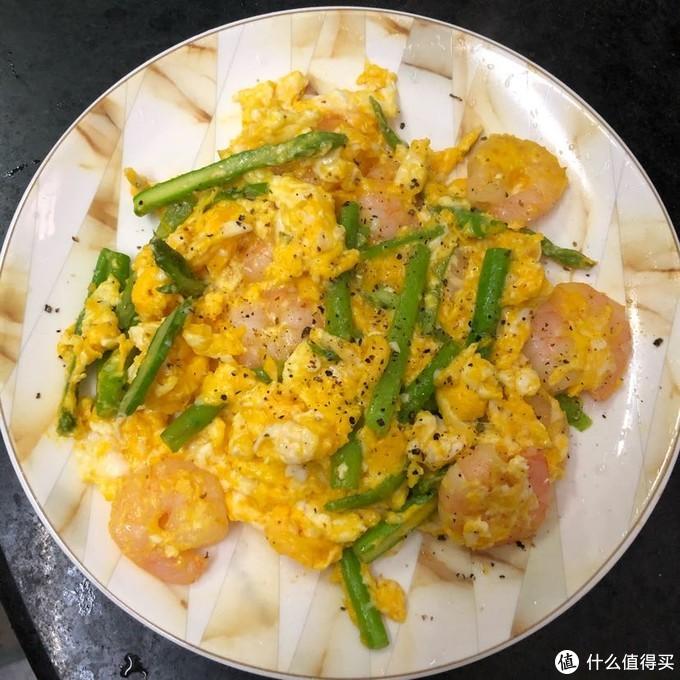 加了芦笋的虾仁滑蛋