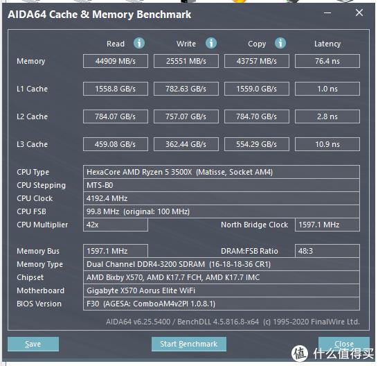 AIDA64内存缓存测试(4.2G+XMP3200状态)