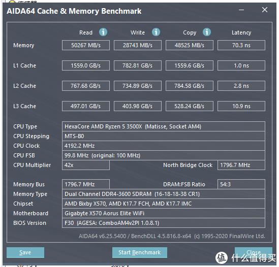 AIDA64内存缓存测试(4.2G+3600MHz内存)