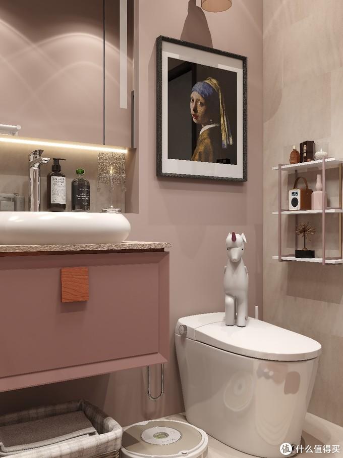 少女心卫生间 橡皮粉浴室柜绝美