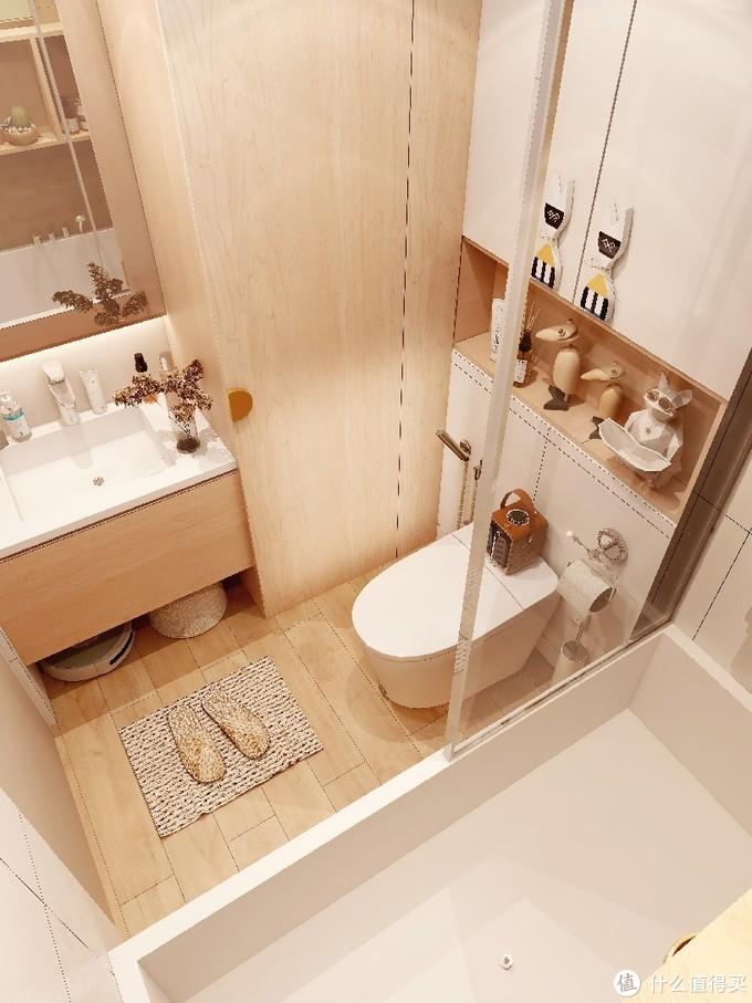 🌲极简原木风浴室|4㎡也能拥有大浴缸🛀