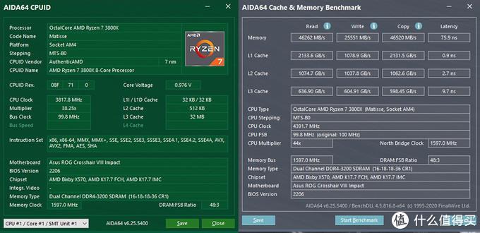 金士顿 HyperX Fury DDR4内存 16G*2 3200C16 测试成绩