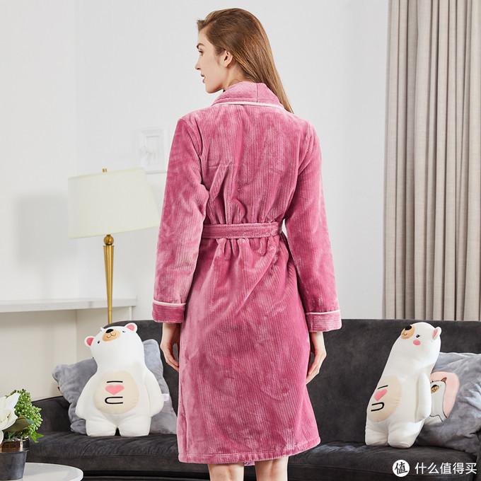 雪仙丽冬款珊瑚绒加厚系带睡袍,自带优雅~