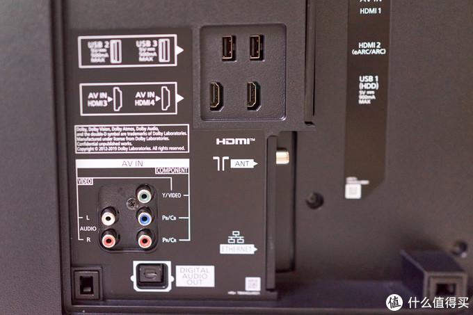 接口很齐全,该有的都有,4个HDMI,3个USB,不过没有HDMI2.1口,可能这是被诟病的地方吧。而且如果壁挂的话,估计后面这一堆接口都不知道怎么插。