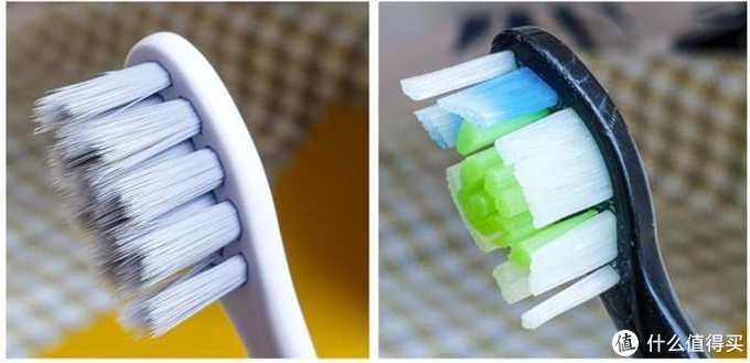 ▲ 欧可林Air 2的刷毛(左)和我自用电动牙刷毛(右)对比