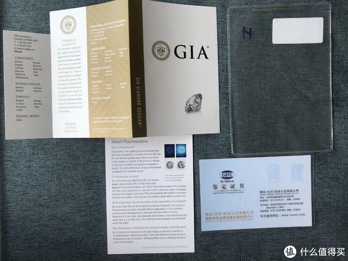 Gai证书和Gia说明书和一个国内的证书