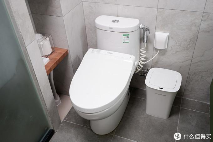 外部有一个隔板和一个小柜,隔板下藏着马桶刷,隔板上放着TOTO马桶的遥控器以及纸,小柜里放着备用的纸、毛巾和其他用品
