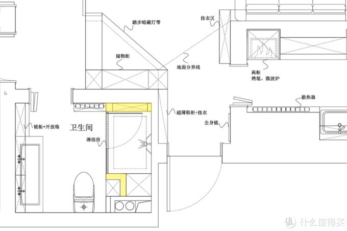这是卫生间的布置设计图,标黄色的位置是新建墙的位置,唯一拆砸的位置是进口处的左门口,砸到了和镜柜持平的位置,门体左移了一下。