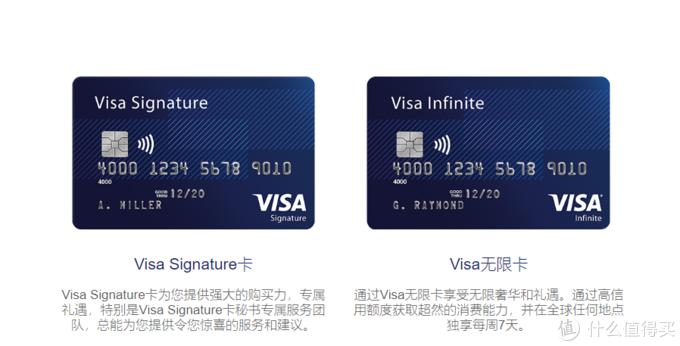 以上卡面并非各家银行发行的卡面,各家有所不同,卡面有Visa Platinum就是白金级别,Visa Signature就是御玺级别,Visa Infinite就是无限卡。