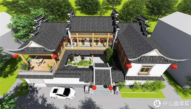 580㎡中式别墅:飞檐翘角,徽派古风,里面的庭院,太漂亮了!