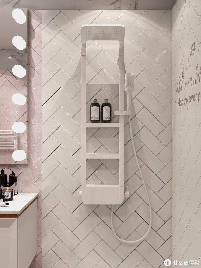✨轻奢粉卫生间|置物花洒🚿+壁龛收纳