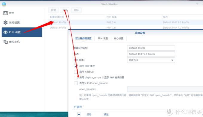 勾选 启用display_errors以显示PHP错误信息