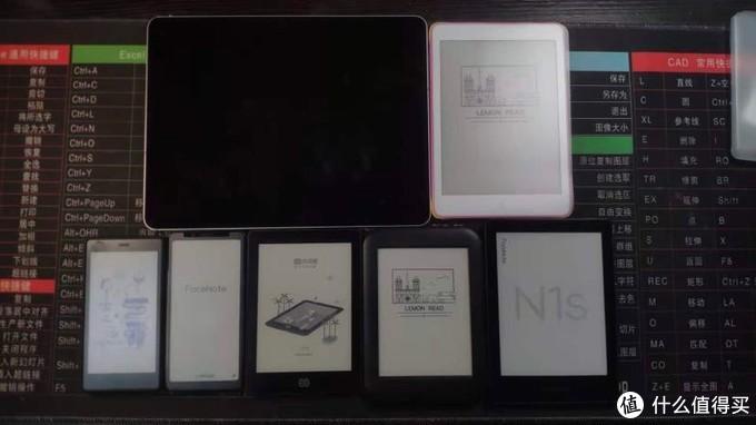 左上Ipadpro 12.9寸,右上大柠檬 7.8寸,左下依次口袋阅1 5.2寸,掌阅f1 5.84寸,当当light 6寸,小柠檬 6寸,掌阅N1s 6.8寸