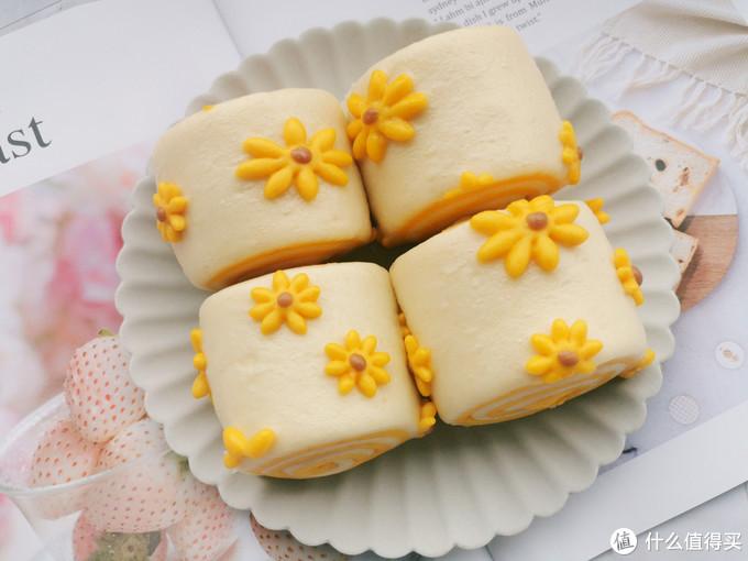 小雏菊双色馒头卷,无需色素,松软香甜,只需要一次发酵