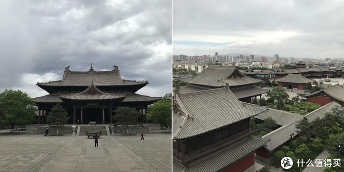 华严寺基本都是新修的建筑,图为普光明殿和在宝塔上俯视寺前方