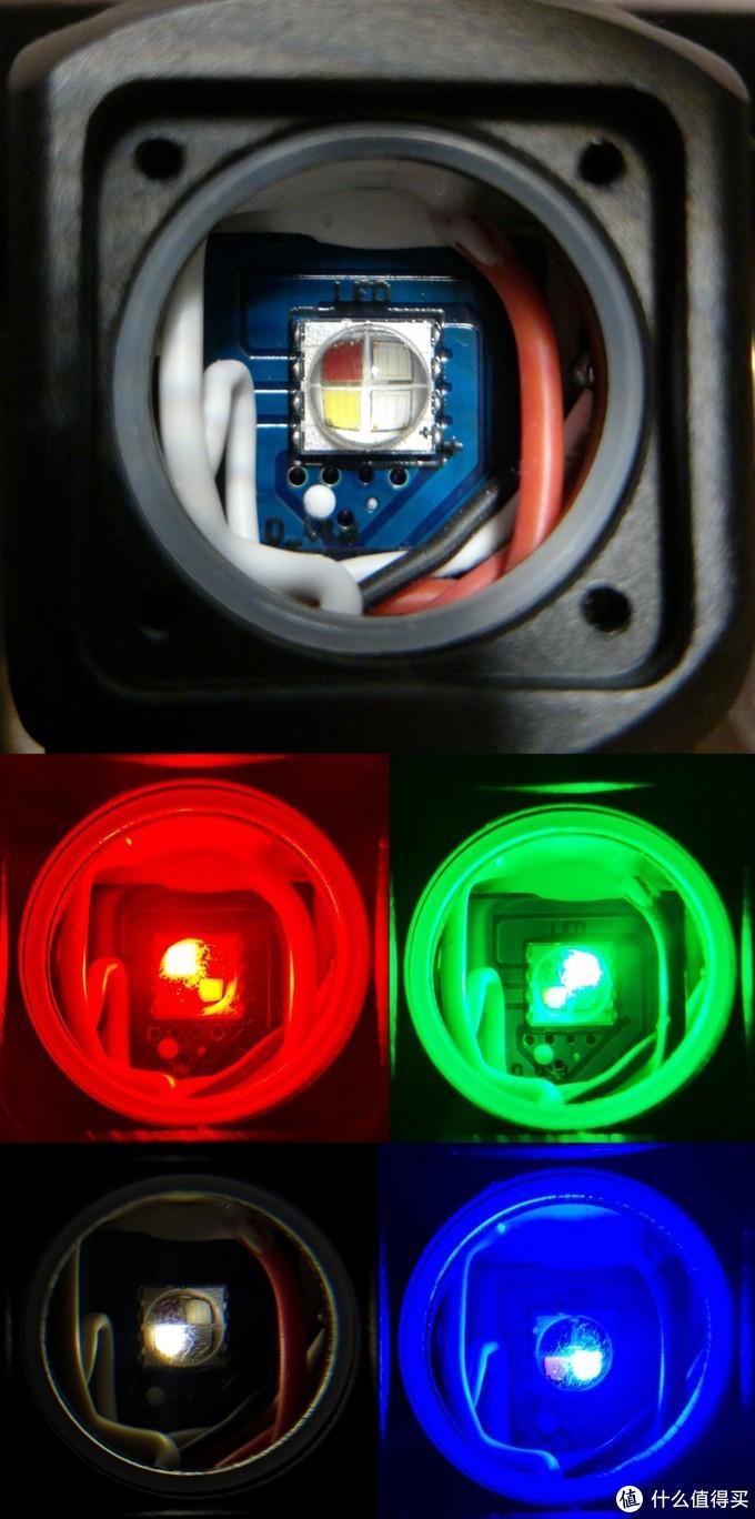 """4个不同颜色的LED按""""田""""字形封装在一个""""果冻""""里"""